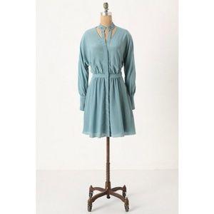 ANTHROPOLOGIE Leifsdottir Teal Button Up Dress